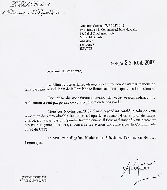 reply from President Nicolas Sarkozy